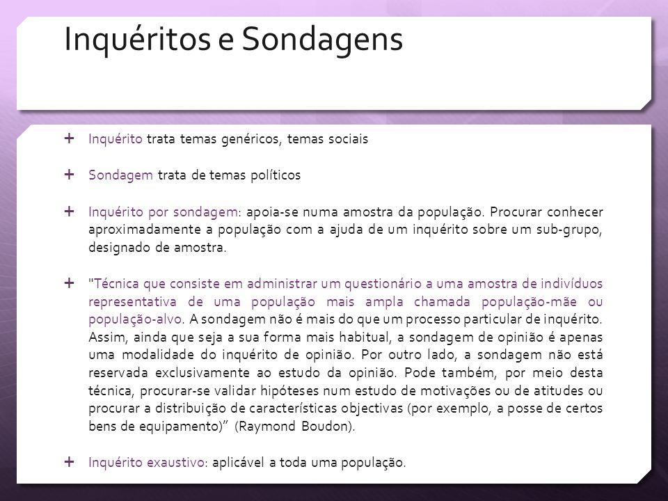 Inquéritos e Sondagens Inquérito trata temas genéricos, temas sociais Sondagem trata de temas políticos Inquérito por sondagem: apoia-se numa amostra