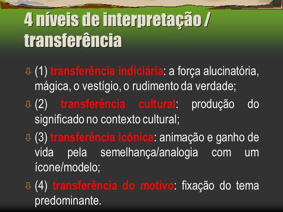 4 níveis de interpretação / transferência ò (1) transferência indiciária : a força alucinatória, mágica, o vestígio, o rudimento da verdade; ò (2) transferência cultural : produção do significado no contexto cultural; ò (3) transferência icónica : animação e ganho de vida pela semelhança/analogia com um ícone/modelo; ò (4) transferência do motivo : fixação do tema predominante.