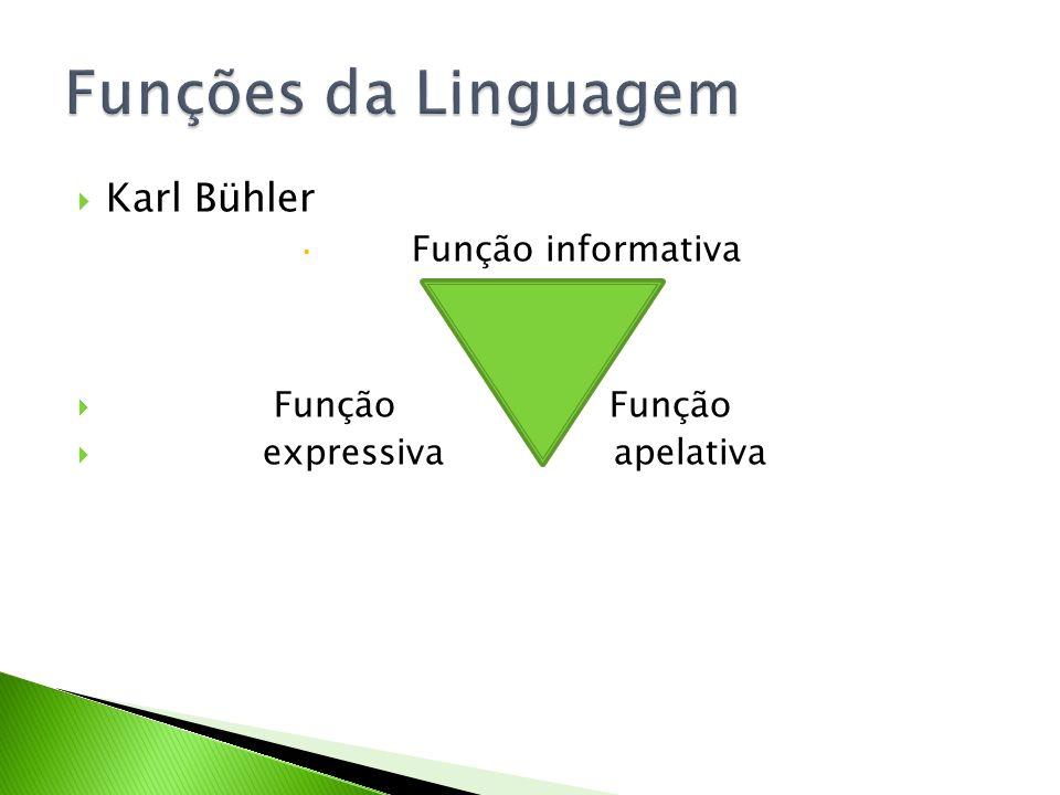 Karl Bühler Função informativa Função Função expressiva apelativa