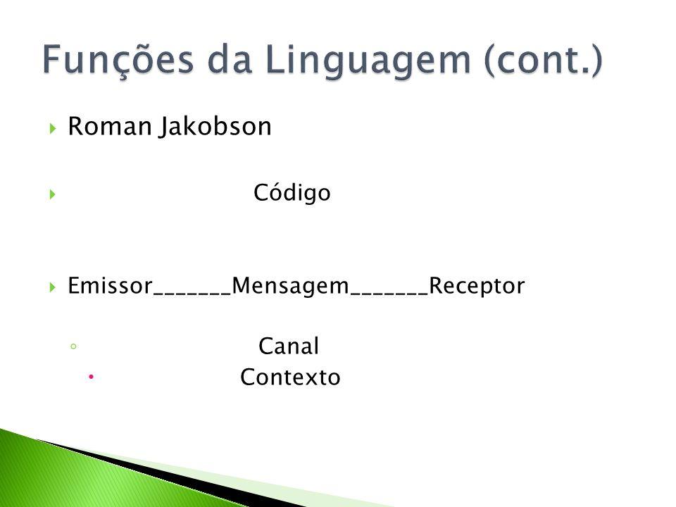 Roman Jakobson Código Emissor_______Mensagem_______Receptor Canal Contexto