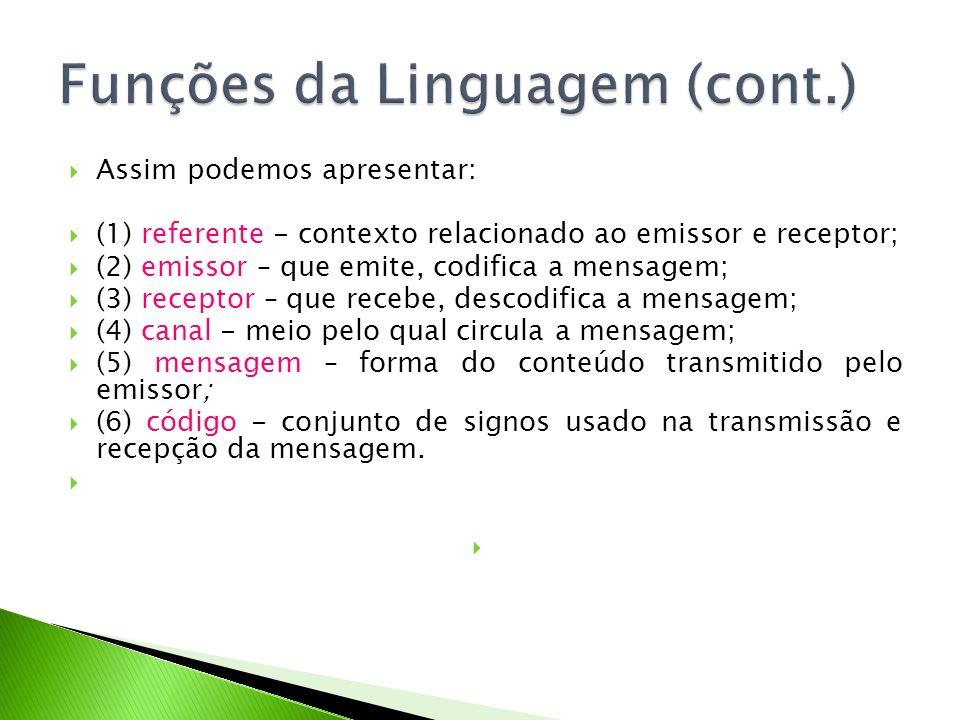 Assim podemos apresentar: (1) referente - contexto relacionado ao emissor e receptor; (2) emissor – que emite, codifica a mensagem; (3) receptor – que