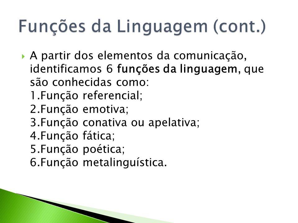 A partir dos elementos da comunicação, identificamos 6 funções da linguagem, que são conhecidas como: 1.Função referencial; 2.Função emotiva; 3.Função