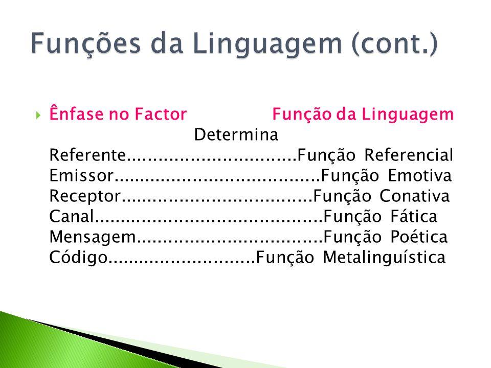 Ênfase no Factor Função da Linguagem Determina Referente................................Função Referencial Emissor....................................