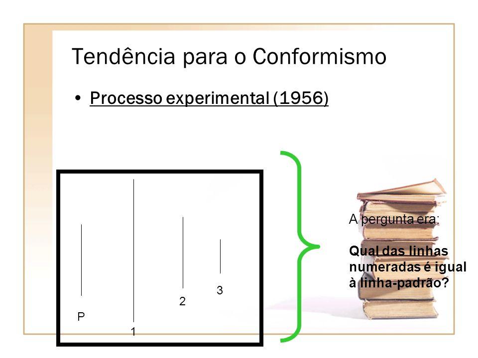 Tendência para o Conformismo Processo experimental (1956) P 1 2 3 A pergunta era: Qual das linhas numeradas é igual à linha-padrão?