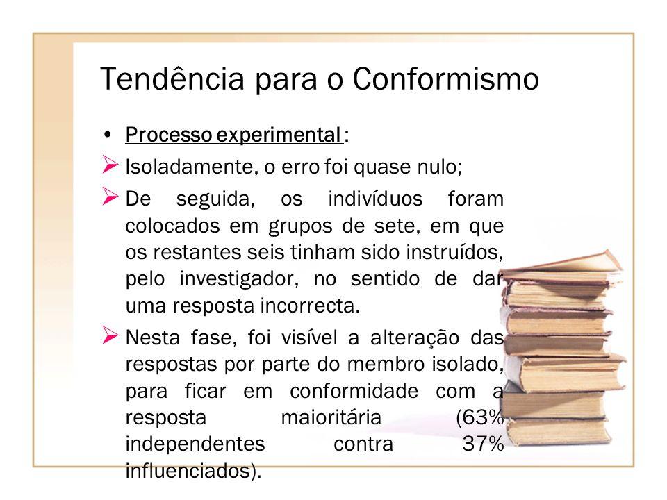 Tendência para o Conformismo Processo experimental : Isoladamente, o erro foi quase nulo; De seguida, os indivíduos foram colocados em grupos de sete,