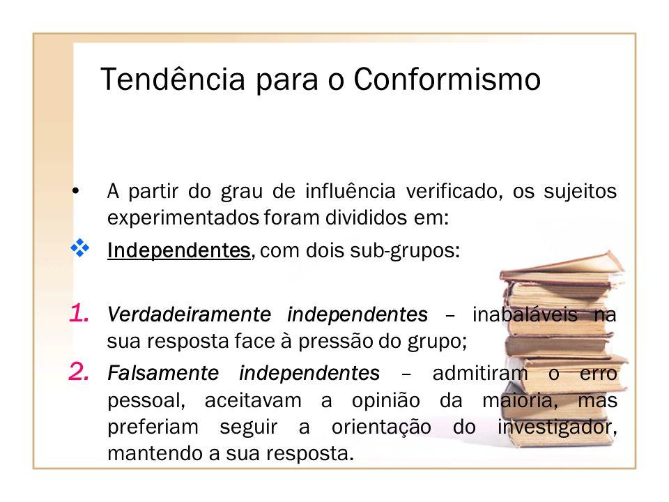 Tendência para o Conformismo A partir do grau de influência verificado, os sujeitos experimentados foram divididos em: Independentes, com dois sub-gru