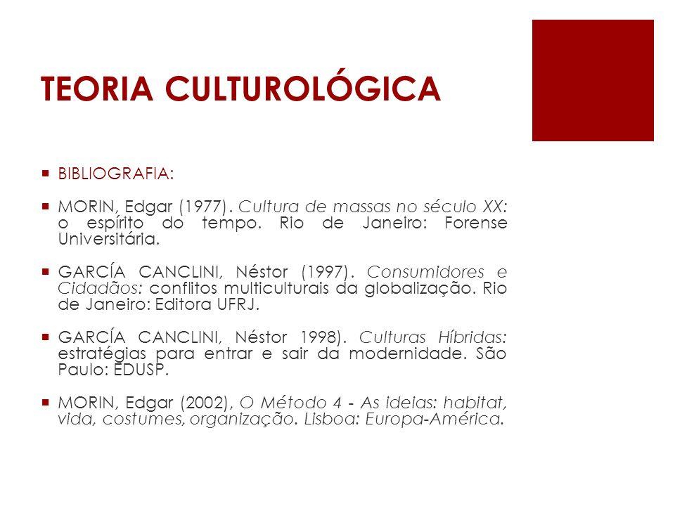 TEORIA CULTUROLÓGICA BIBLIOGRAFIA: MORIN, Edgar (1977). Cultura de massas no século XX: o espírito do tempo. Rio de Janeiro: Forense Universitária. GA