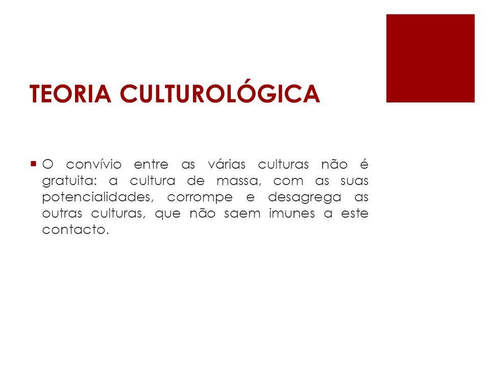 TEORIA CULTUROLÓGICA A cultura de massa suscita uma homogeneização (sincretismo): os produtos mediáticos transitam entre o real e o imaginário, criando fantasias com base em factos e vice- versa.