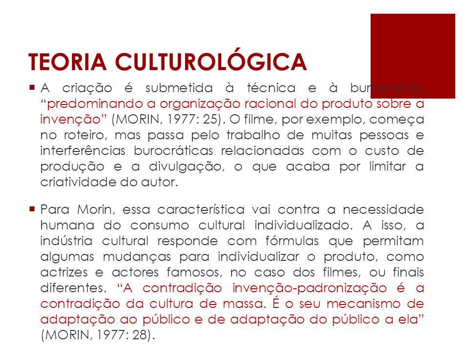 TEORIA CULTUROLÓGICA A cultura de massa não é imposta nem reflecte as necessidades e desejos culturais do público.