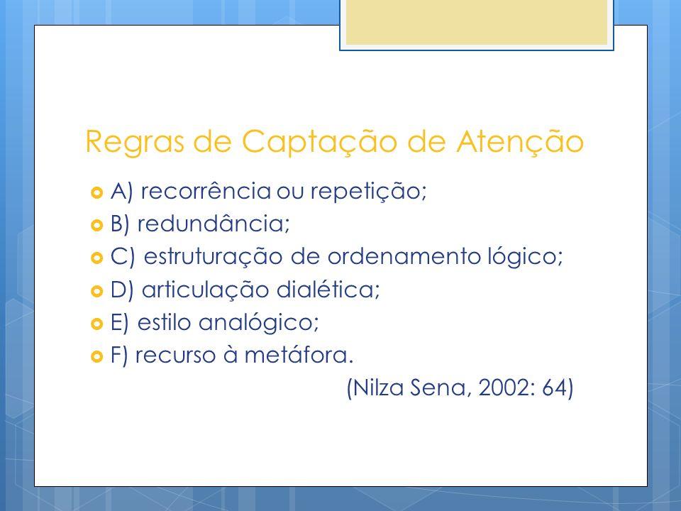 Regras de Captação de Atenção A) recorrência ou repetição; B) redundância; C) estruturação de ordenamento lógico; D) articulação dialética; E) estilo