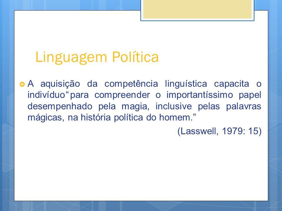 Linguagem Política (cont.) LASSWELL (1979: 18): A linguagem da política é a linguagem do poder, da decisão, que regista e modifica decisões.