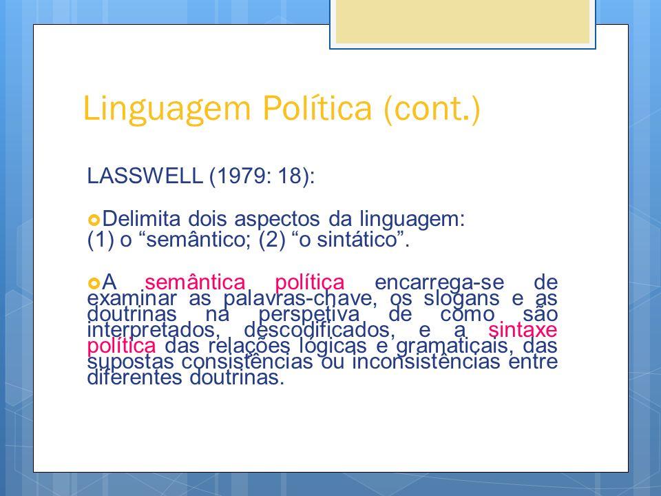 Linguagem Política (cont.) LASSWELL (1979: 18): Delimita dois aspectos da linguagem: (1) o semântico; (2) o sintático. A semântica política encarrega-