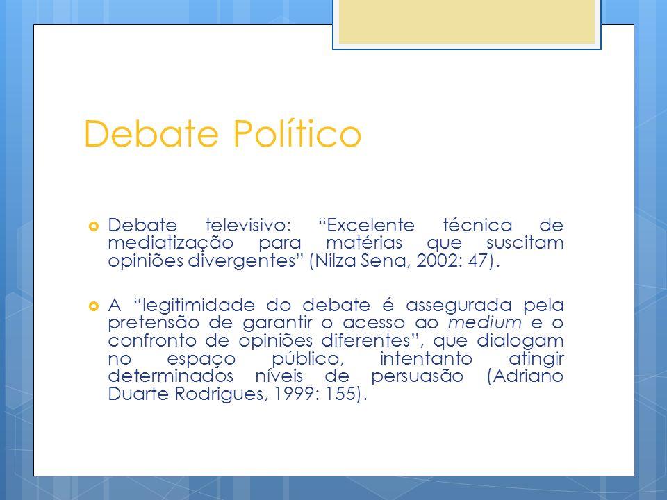 Debate Político Debate televisivo: Excelente técnica de mediatização para matérias que suscitam opiniões divergentes (Nilza Sena, 2002: 47). A legitim
