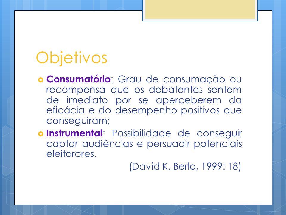 Objetivos Consumatório : Grau de consumação ou recompensa que os debatentes sentem de imediato por se aperceberem da eficácia e do desempenho positivo