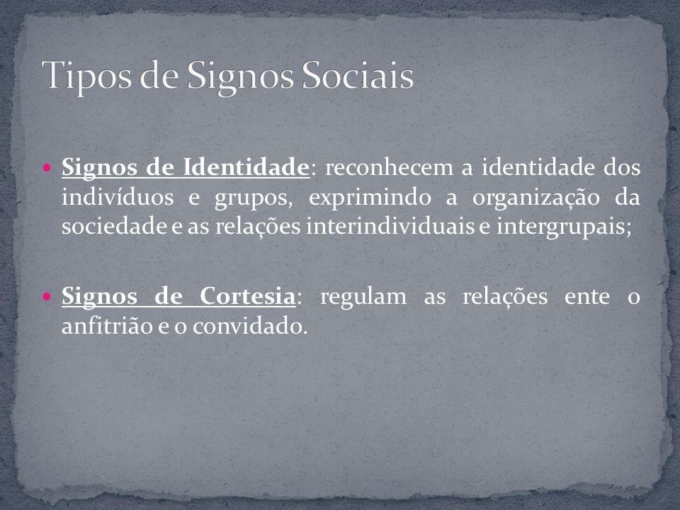 Signos de Identidade: reconhecem a identidade dos indivíduos e grupos, exprimindo a organização da sociedade e as relações interindividuais e intergru