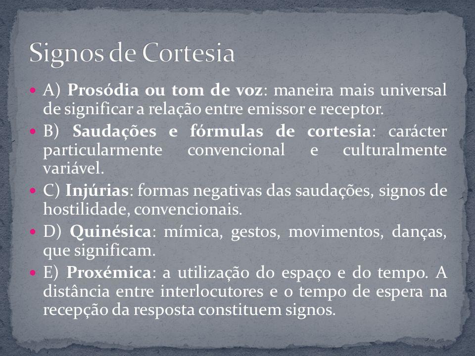 A) Prosódia ou tom de voz: maneira mais universal de significar a relação entre emissor e receptor. B) Saudações e fórmulas de cortesia: carácter part