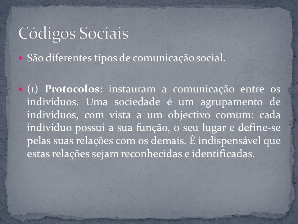 São diferentes tipos de comunicação social. (1) Protocolos: instauram a comunicação entre os indivíduos. Uma sociedade é um agrupamento de indivíduos,