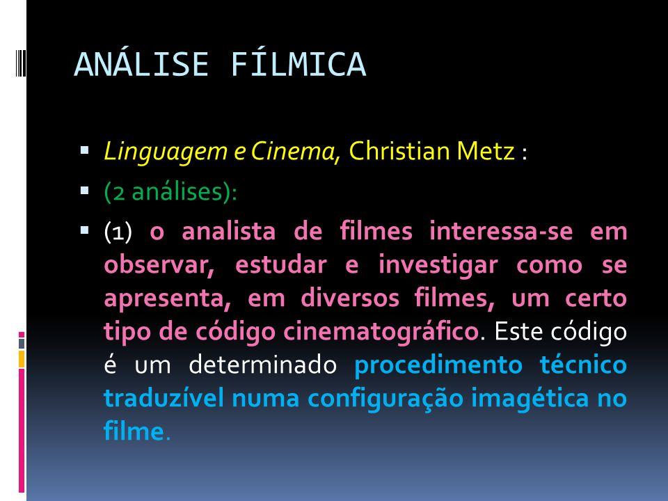 ANÁLISE FÍLMICA Linguagem e Cinema, Christian Metz : (2 análises): (1) o analista de filmes interessa-se em observar, estudar e investigar como se apr