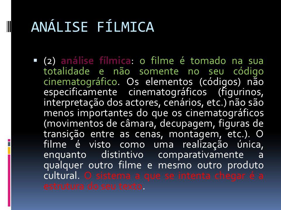 ANÁLISE FÍLMICA (2) análise fílmica: o filme é tomado na sua totalidade e não somente no seu código cinematográfico. Os elementos (códigos) não especi