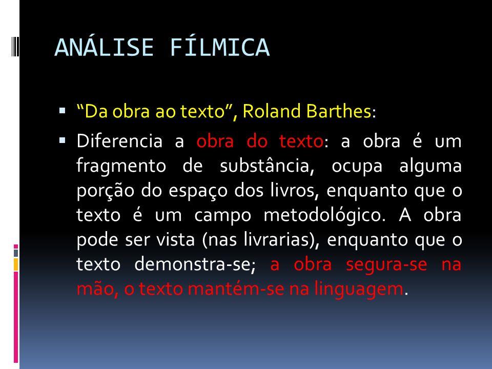 ANÁLISE FÍLMICA Da obra ao texto, Roland Barthes: Diferencia a obra do texto: a obra é um fragmento de substância, ocupa alguma porção do espaço dos l