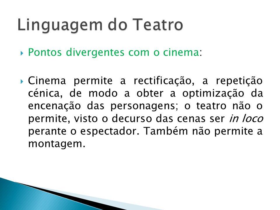 Pontos divergentes com o cinema: Cinema permite a rectificação, a repetição cénica, de modo a obter a optimização da encenação das personagens; o teat