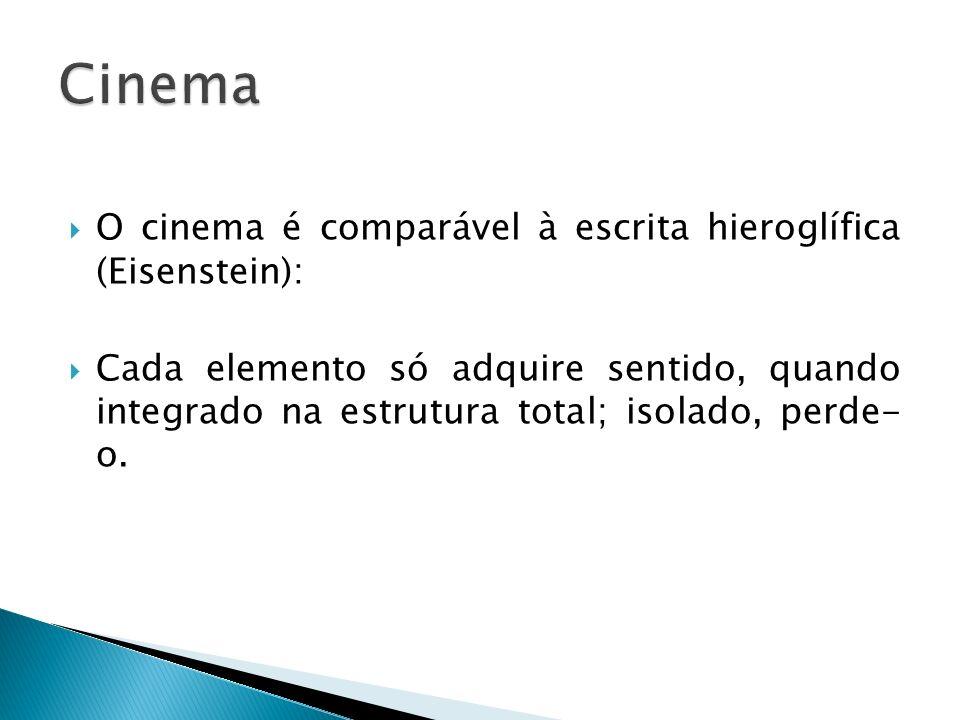 O cinema é comparável à escrita hieroglífica (Eisenstein): Cada elemento só adquire sentido, quando integrado na estrutura total; isolado, perde- o.