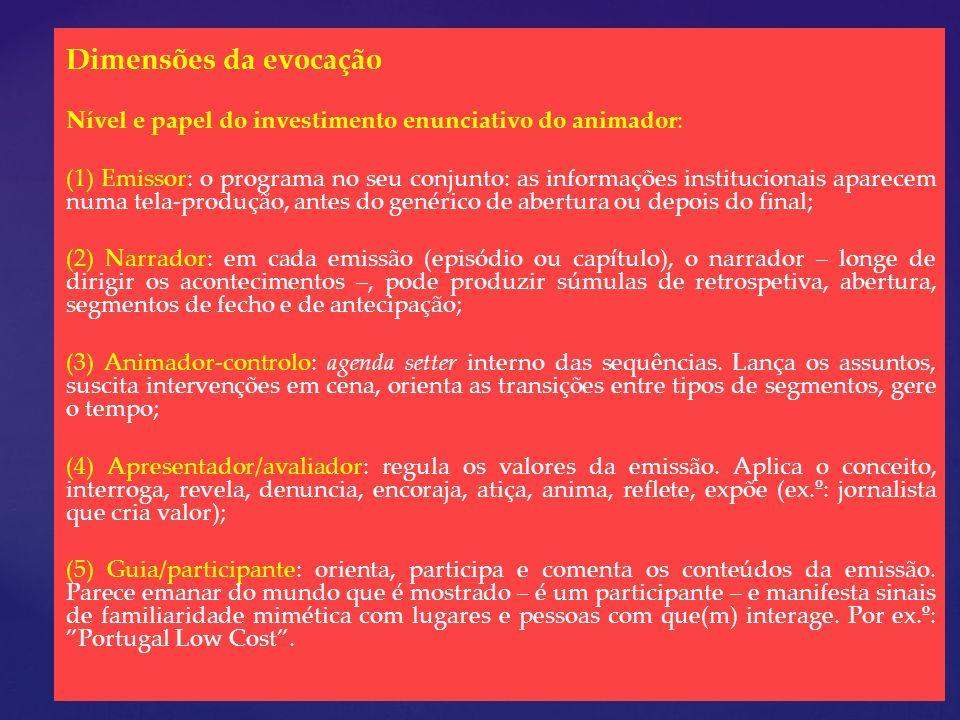Dimensões da evocação Nível e papel do investimento enunciativo do animador: (1) Emissor: o programa no seu conjunto: as informações institucionais ap