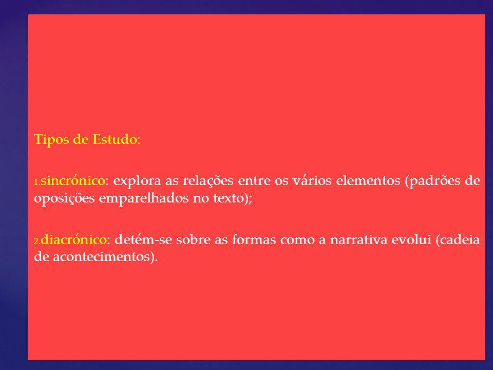 Tipos de Estudo: 1. 1. sincrónico: explora as relações entre os vários elementos (padrões de oposições emparelhados no texto); 2. 2. diacrónico: detém