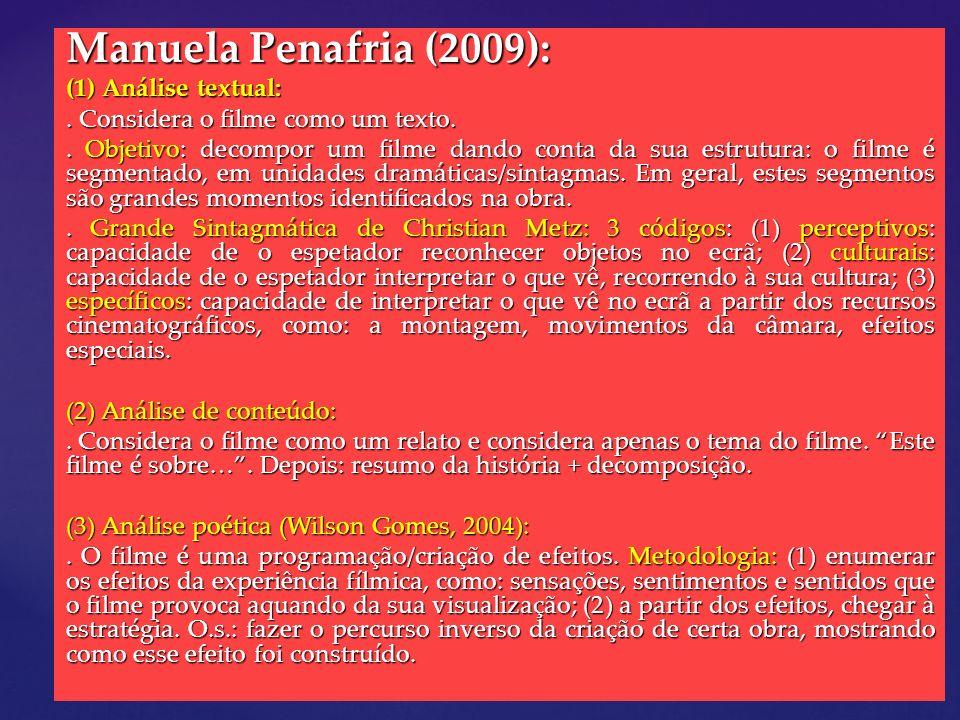 Manuela Penafria (2009): (1) Análise textual:. Considera o filme como um texto.. Objetivo: decompor um filme dando conta da sua estrutura: o filme é s