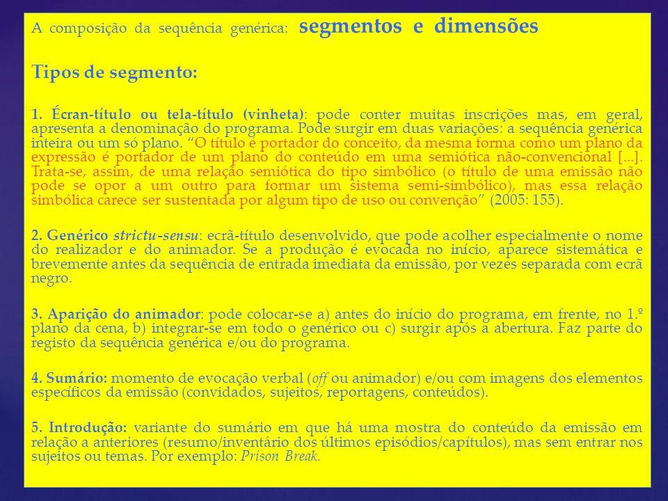 A composição da sequência genérica: segmentos e dimensões Tipos de segmento: 1. Écran-título ou tela-título (vinheta): pode conter muitas inscrições m