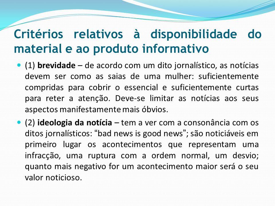 Critérios relativos à disponibilidade do material e ao produto informativo (1) brevidade – de acordo com um dito jornalístico, as notícias devem ser c