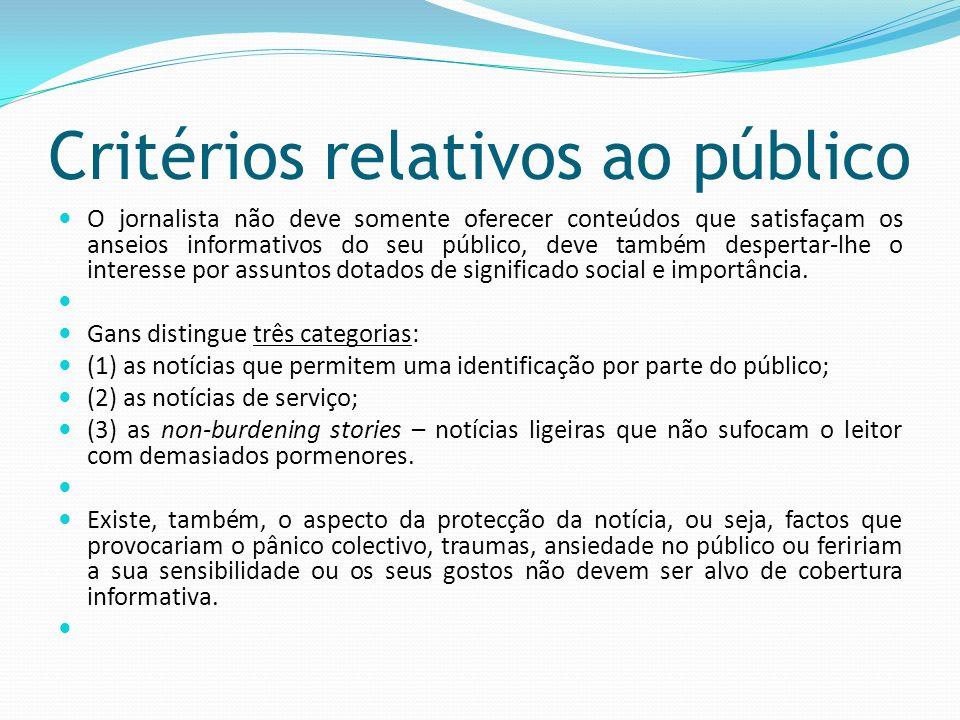 Critérios relativos ao público O jornalista não deve somente oferecer conteúdos que satisfaçam os anseios informativos do seu público, deve também des