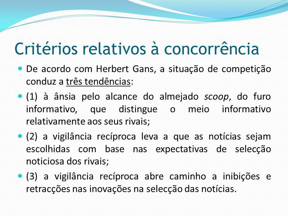 Critérios relativos à concorrência De acordo com Herbert Gans, a situação de competição conduz a três tendências: (1) à ânsia pelo alcance do almejado
