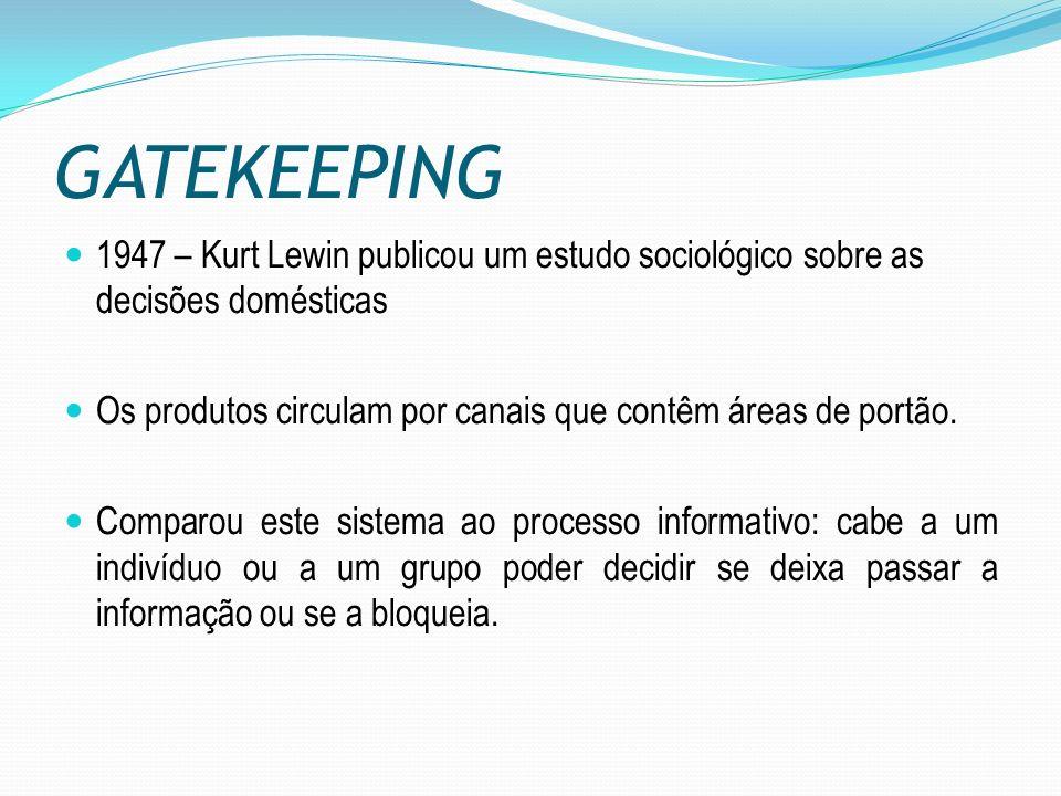 GATEKEEPING 1947 – Kurt Lewin publicou um estudo sociológico sobre as decisões domésticas Os produtos circulam por canais que contêm áreas de portão.