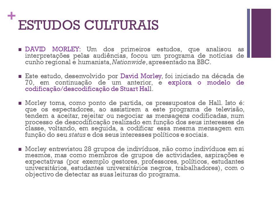 + ESTUDOS CULTURAIS DAVID MORLEY: Um dos primeiros estudos, que analisou as interpretações pelas audiências, focou um programa de notícias de cunho re