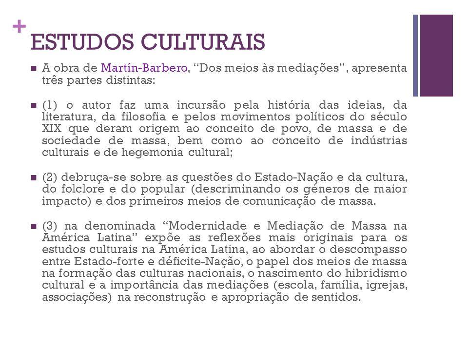 + ESTUDOS CULTURAIS A obra de Martín-Barbero, Dos meios às mediações, apresenta três partes distintas: (1) o autor faz uma incursão pela história das