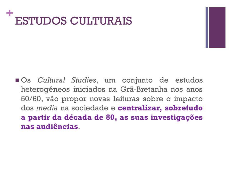 + ESTUDOS CULTURAIS Os Cultural Studies, um conjunto de estudos heterogéneos iniciados na Grã-Bretanha nos anos 50/60, vão propor novas leituras sobre