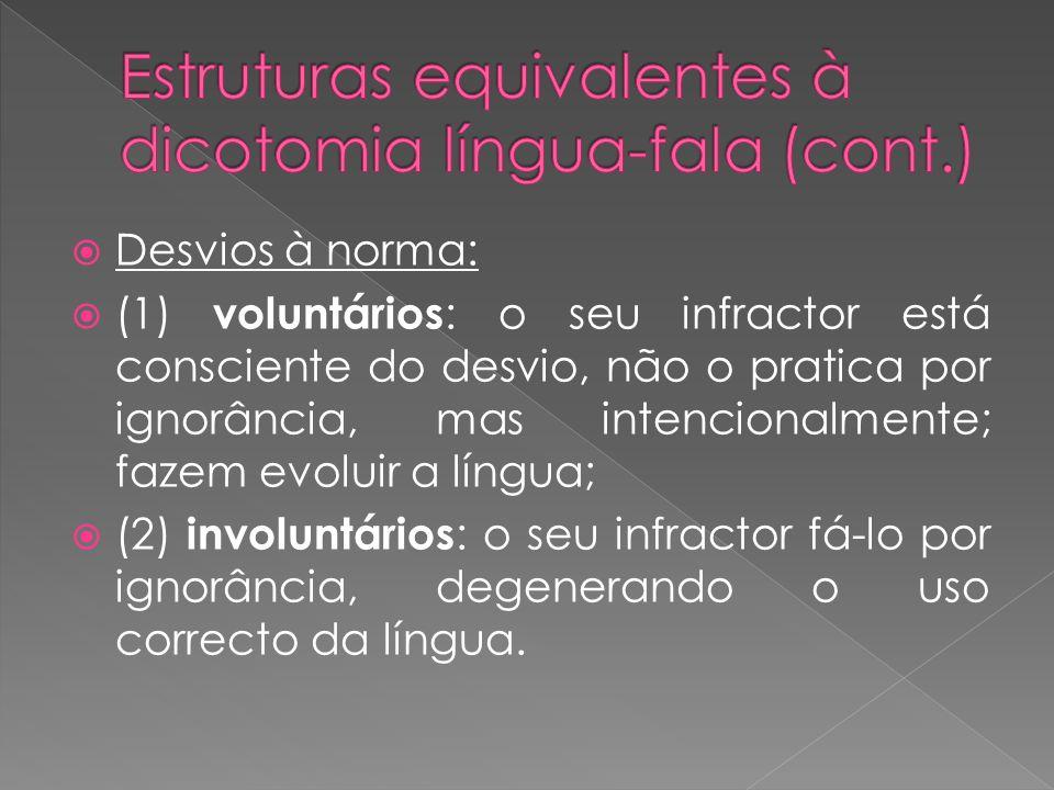 Desvios à norma: (1) voluntários : o seu infractor está consciente do desvio, não o pratica por ignorância, mas intencionalmente; fazem evoluir a líng