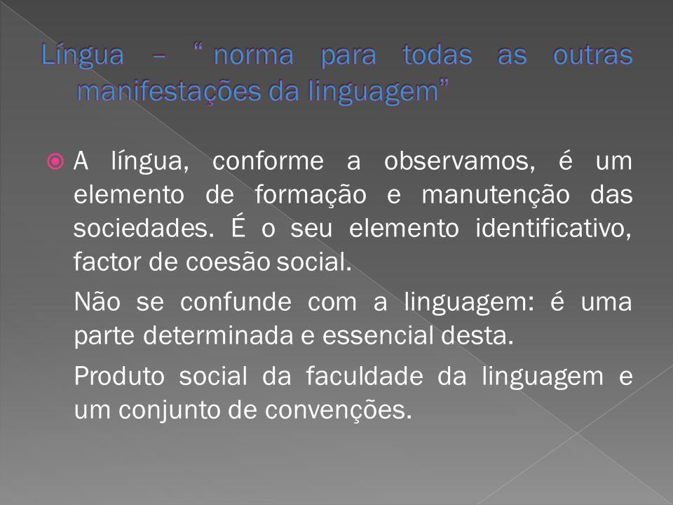 A língua, conforme a observamos, é um elemento de formação e manutenção das sociedades. É o seu elemento identificativo, factor de coesão social. Não
