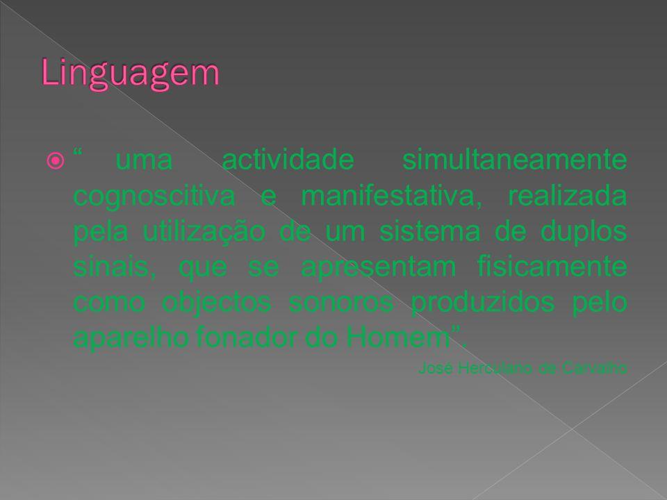 uma actividade simultaneamente cognoscitiva e manifestativa, realizada pela utilização de um sistema de duplos sinais, que se apresentam fisicamente c