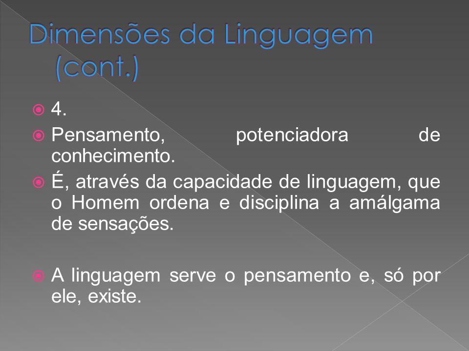 4. Pensamento, potenciadora de conhecimento. É, através da capacidade de linguagem, que o Homem ordena e disciplina a amálgama de sensações. A linguag
