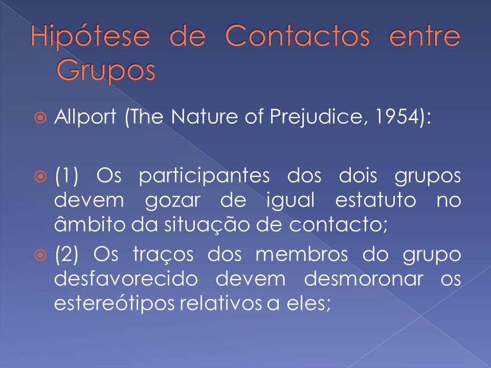 Allport (The Nature of Prejudice, 1954): (1) Os participantes dos dois grupos devem gozar de igual estatuto no âmbito da situação de contacto; (2) Os