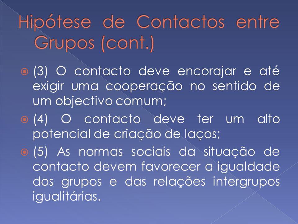 (3) O contacto deve encorajar e até exigir uma cooperação no sentido de um objectivo comum; (4) O contacto deve ter um alto potencial de criação de la