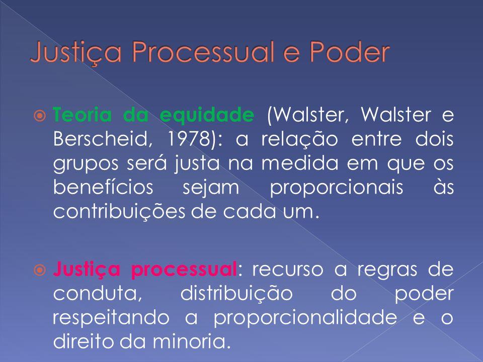 Teoria da equidade (Walster, Walster e Berscheid, 1978): a relação entre dois grupos será justa na medida em que os benefícios sejam proporcionais às