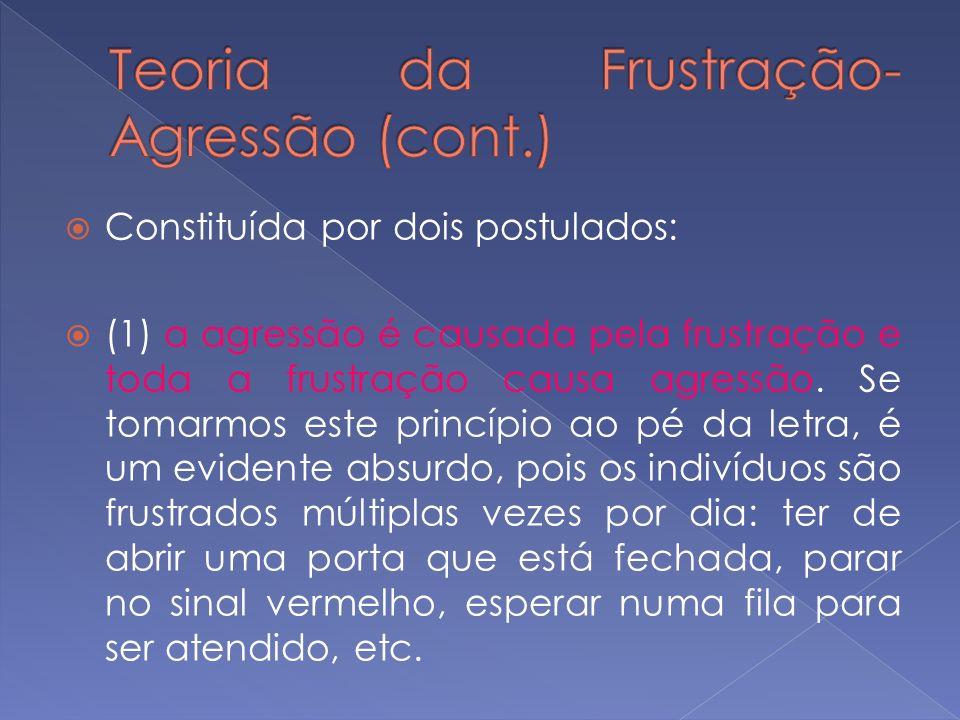 Constituída por dois postulados: (1) a agressão é causada pela frustração e toda a frustração causa agressão. Se tomarmos este princípio ao pé da letr