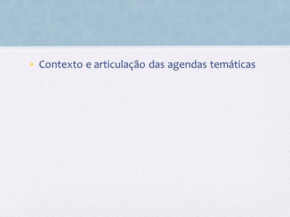 Contexto e articulação das agendas temáticas