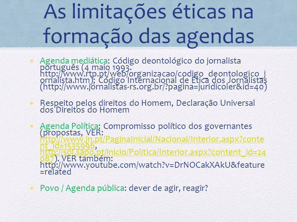 As limitações éticas na formação das agendas Agenda mediática: Código deontológico do jornalista português (4 maio 1993.