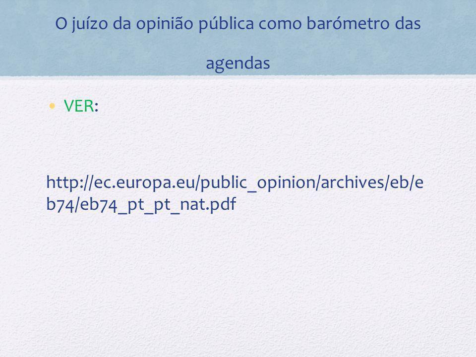 O juízo da opinião pública como barómetro das agendas VER: http://ec.europa.eu/public_opinion/archives/eb/e b74/eb74_pt_pt_nat.pdf