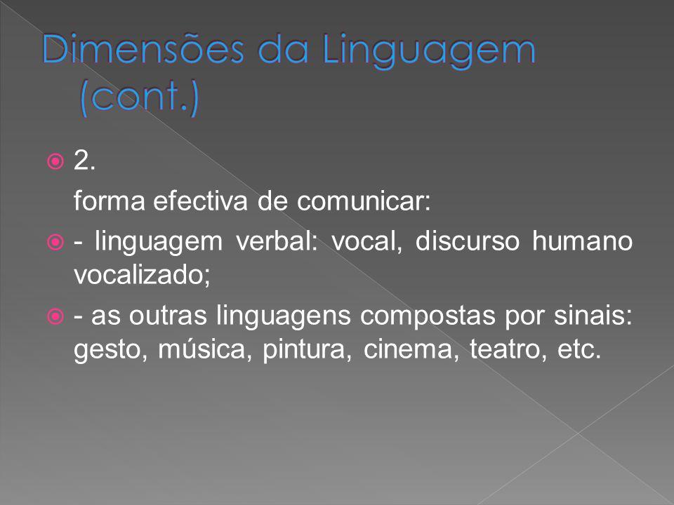 2. forma efectiva de comunicar: - linguagem verbal: vocal, discurso humano vocalizado; - as outras linguagens compostas por sinais: gesto, música, pin