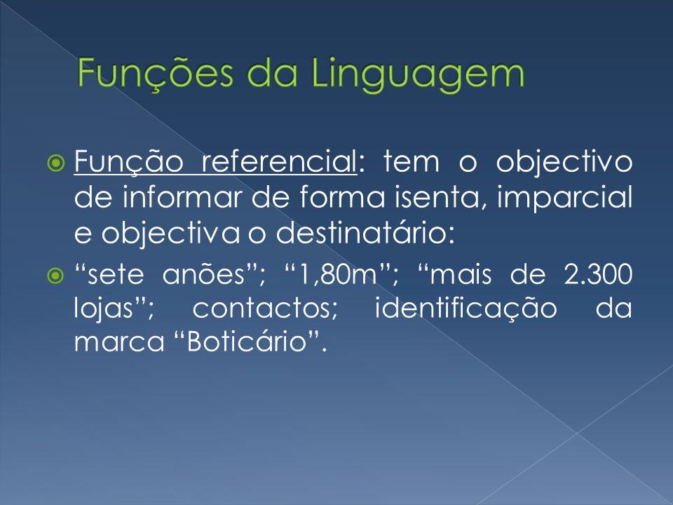 Função referencial: tem o objectivo de informar de forma isenta, imparcial e objectiva o destinatário: sete anões; 1,80m; mais de 2.300 lojas; contact